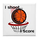 i shoot, i score Tile Coaster