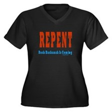 Repent Jewish Women's Plus Size V-Neck Dark T-Shir
