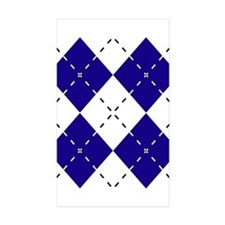 Blue & Yellow Argyle Rectangle Sticker 50 pk)