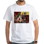 Santa's Bedlington White T-Shirt