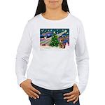 Xmas Magic & Border T Women's Long Sleeve T-Shirt