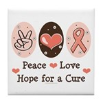 Peace Love Hope For A Cure Tile Coaster