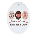 Peace Love Hope For A Cure Oval Ornament