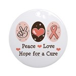 Peace Love Hope For A Cure Ornament (Round)
