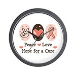 Peace Love Hope For A Cure Wall Clock