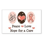 Peace Love Hope For A Cure Rectangle Sticker 50 p