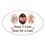 Peace Love Hope For A Cure Oval Sticker (10 pk)