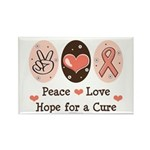 Peace Love Hope For A Cure Rectangle Magnet (10 pa