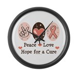 Peace Love Hope For A Cure Large Wall Clock