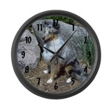 Rock Garden Sheltie Large Wall Clock