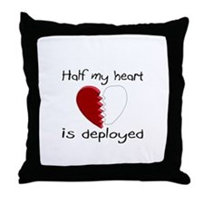 Half My Heart Is Deployed Throw Pillow