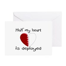 Half My Heart Is Deployed Greeting Cards (Pk of 20