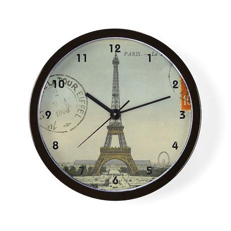 Vintage Paris Eiffel Tower Wall Clock by monalulu