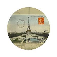 """Vintage Paris Eiffel Tower 3.5"""" Button"""