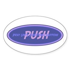 Purple PUSH Oval Sticker (10 pk)