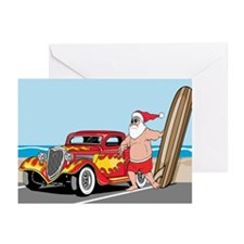 Santa's Hot Rod Vacation Greeting Cards (Pk of 10)