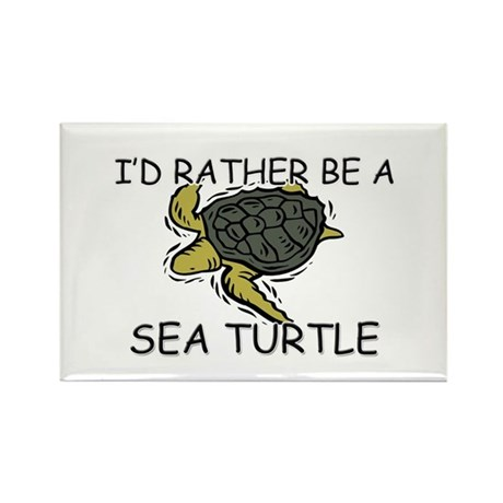 I'd Rather Be A Sea Turtle Rectangle Magnet