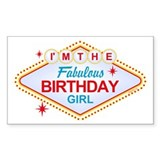 Las Vegas Birthday Girl Rectangle Decal