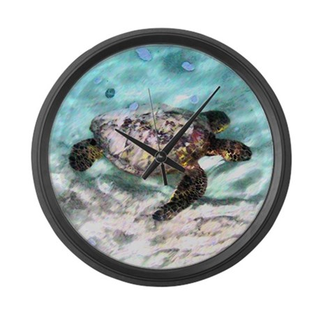 Swimming Sea Turtle Large Wall Clock