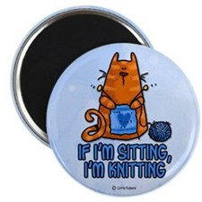 "if i'm sitting, i'm knitting 2.25"" Magnet (10 pack"