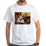 Santa & His Brittany White T-Shirt