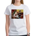 Santa & His Brittany Women's T-Shirt