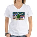Xmas Magic & 5 Cairn Terriers Women's V-Neck T-Shi