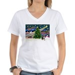 Xmas Magic & Chihuahua Women's V-Neck T-Shirt