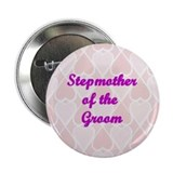 Stepmother of the Groom Pink Hearts Button