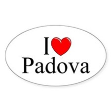 """I Love (Heart) Padova"" Oval Decal"
