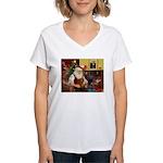 Santa's Dachshund (b) Women's V-Neck T-Shirt
