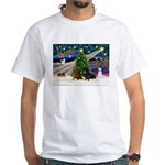 XmasMagic/2 Dachshund (BB) White T-Shirt