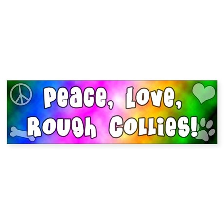 Hippie Rough Collie Bumper Sticker