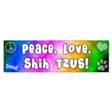 Hippie Shih Tzu Bumper Car Sticker