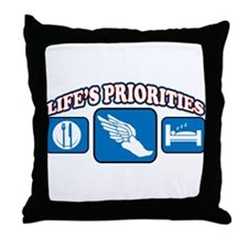 Life's Priorities Track & Fie Throw Pillow