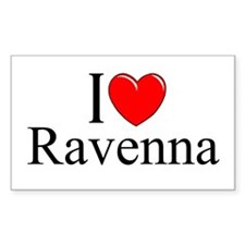 """I Love (Heart) Ravenna"" Rectangle Decal"