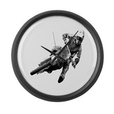 Grooving it on a dirt bike Large Wall Clock
