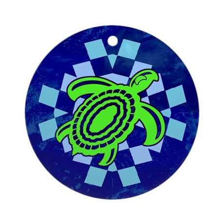Green Cutout Turtle Ornament (Round)
