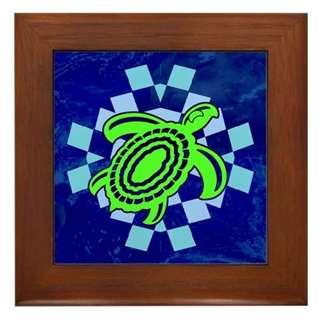 Green Cutout Turtle Framed Tile
