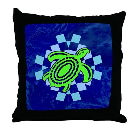 Green Cutout Turtle Throw Pillow