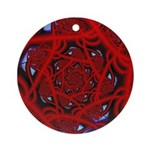 """Red 11"" Fractal Art Ornament (Round)"