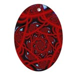 """Red 11"" Fractal Art Oval Ornament"
