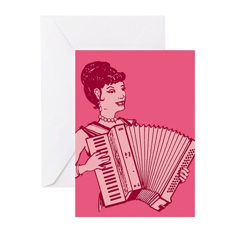 Retro Pink Lady With Accordion Greeting Cards (Pk