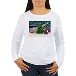 XmasMagic/Dachshund (Wire) Women's Long Sleeve T-S