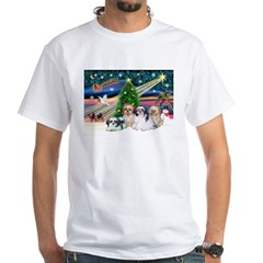 XmasMagic/4 Shih Tzus White T-Shirt