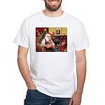 Santa / Yorkie (#9) White T-Shirt