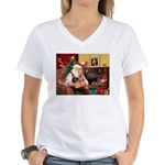 Santa / Yorkie (#9) Women's V-Neck T-Shirt