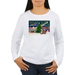 XmasMagic/2 Yorkies Women's Long Sleeve T-Shirt