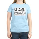 BLAME MY PARENTS Women's Pink T-Shirt