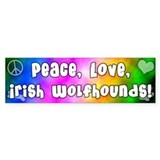 Hippie Irish Wolfhound Bumper Bumper Sticker